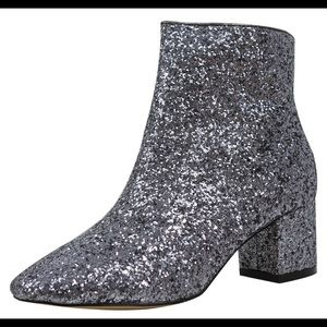 Shoes - Pewter Sparkling Glitter Mid Heel High Top Boot